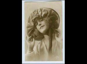 W4V74/ Hübsche Frau mit Hut Leo Foto AK ca.1910