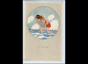 W5B34/ Chicky Spark AK Kinder baden Badeleben ca.1920