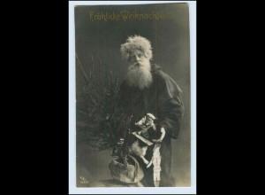 W4Q69/ Weihnachten Weihnachtsmann mit Tannenbaum und Puppen 1907 Foto AK