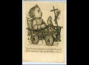 W5C69/ Hummel AK Kind mit Handkarren Verlag: J. Müller 1937