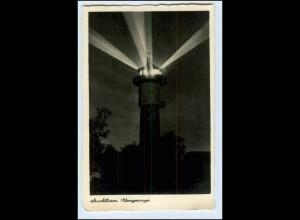 W5M19/ Wangerooge Leuchtturm bei Nacht Foto AK ca.1935