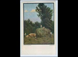 W5H66/ Landwirtschaft Heuernte Ochsenfuhrwerk Künstler AK 1918