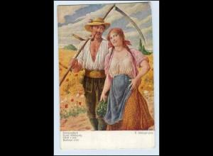 W5H62/ Landwirtschaft Heuernte Bauer mit Sense schöne Künstler AK ca.1912