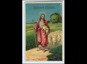 W5R16/ Ostern Jesus und Schafe Litho Prägedruck AK 1913