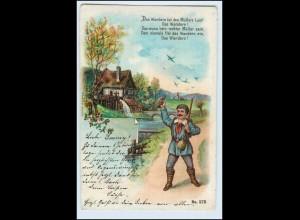 W5Q84/ Das Wandern ist das Müllers Lust! Litho AK 1900