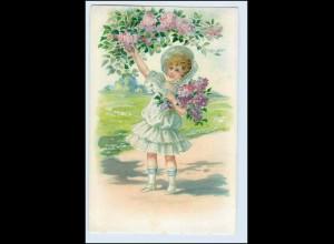 W5S28/ Mädchen Kind mit Flieder Litho Prägedruck AK 1908