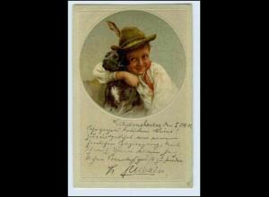 W5P13/ Kind Junge mit Hund schöne Litho AK 1902