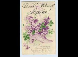 W5Q34/ Schuh mit Veilchen Blumen Litho Präge AK 1907