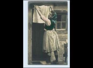W5R77/ Wäsche aufhängen schöne Foto AK ca.1912