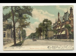 W5S63/ Chicago Michigan Ave. USA AK mit Glimmer 1906