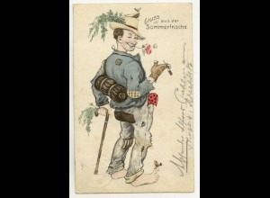 W5V51/ Landstreicher Humor Künstler AK 1911