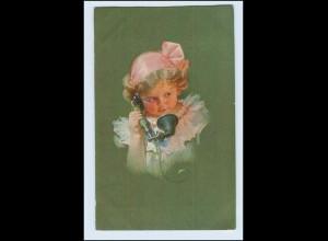W5U45/ kleines Mädchen und Telefon Künstler AK ca.1925