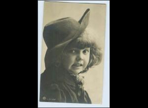 W5U33/ Kleines Kind mit Hut Rotophot Foto AK ca.1906
