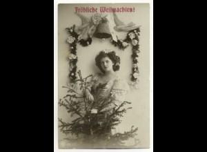 W5W93/ Weihnachten Frau mit Tannenbaum 1913 Foto AK