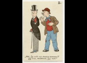 W5V49/ Mann mit Frack und Zylinder Künsterl AK Humor ca.1910