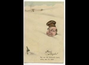 W5V54/ Betrunkener Mann im Schnee Humor Ak 1910