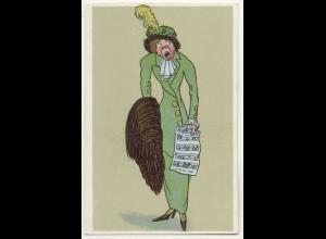 W5V56/ Alte Frau singt Humor Litho AK ca.1910