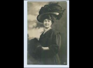 W6H70/ Hutmode schöne Frau mit Hut Foto AK 1908