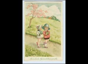 W6H22/ Geburtstag Mädchen mit Hut und Blumenstrauß AK