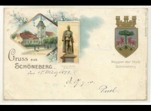 z4762/ Gruß aus Schöneberg Berlin Wappen Litho AK 1899