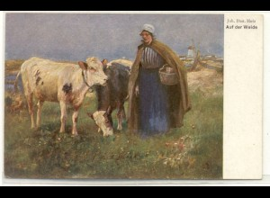 z4709/ Kühe Landwirtschaft Künstler Ak ca.1912
