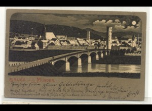 z3153/ Hann. Münden Gruß aus Münden schöne Mondschein Litho Ak 1904