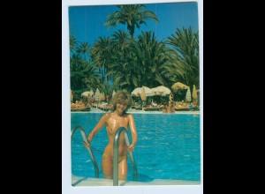 W9Q54/ Gran Canaria Maspalomas Hotel Plam Beach Frau oben ohne