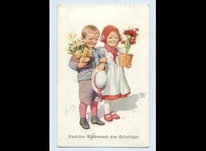 E299/ K. Feiertag Künstler AK Kinder mit Blumen Geburtstag 1913