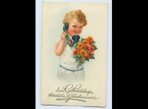 E435/ Telefon kleines Kind Blumen Geburtstag Litho Ak ca.1935