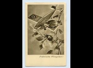 E436/ Pfingsten Maikäfer und Flugzeug AK 1936