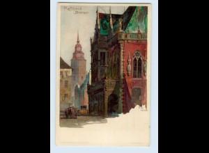X1A70/ Bremen Rathaus Künstler Litho AK Kley ca.1900