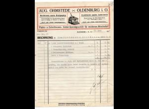 c850/ Rechnung Aug. Ohmstedte, Oldenburg i. O. Papier- u. Schreibwaren 1925