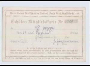 Y1172/ Verien Deutschtum im Ausland Schüler-Mitgliedskarte 1922