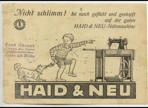 c138/ Haid & Neu Nähmaschinen Werbung ca. 1935 DIN A 5 Blatt