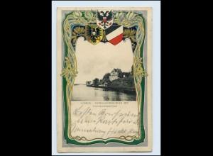 A8550/ Lübeck Navigationsschule Litho Prägedr. Wappen 1903 Jugendstil