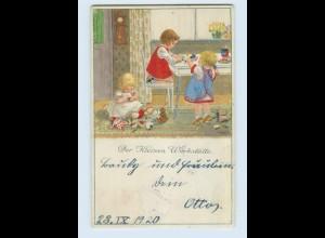 W9X85/ Pauli Ebner Kinder mit Puppen Spielzeug Litho AK 1920
