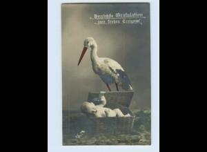 F346/ Storch und Puppe Foto AK frohes Ereignis, Geburt 1912