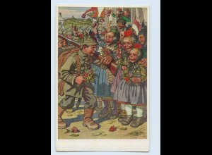 H331/ Hessische Trachten Künstler AK Nr. 36, Kinder als Soldaten 1. Weltkrieg
