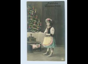H355/ Weihnachten Mädchen mit Puppe Foto AK 1909