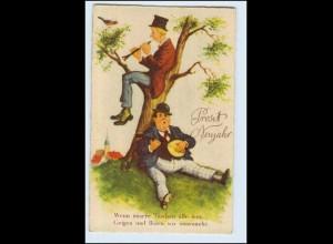 W9W96/ Neujahr Männer musizieren mit Gitarre und Flöte AK ca.1930