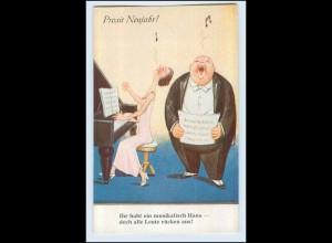 W9W97/ Neujahr dicker mann singt, Frau spielt Klavier AK ca.1930