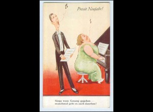 W9W99/ Neujahr dicke Frau spielt Klavier, Mann singt AK ca.1930