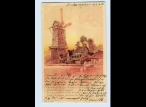 W9H05/ Mühle Windmühle schöne Litho AK 1902