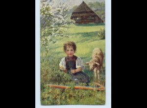 W9K17/ Hoffmann Schwarzwald AK Mädchen mit Lamm 1912