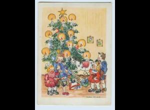W9X62/ Weihnachten Kinder Spielzeug Schaukelpferd Künstler AK ca.1950