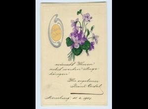 W9A50/ Ostern Blumen schöne Prägedruck AK 1903