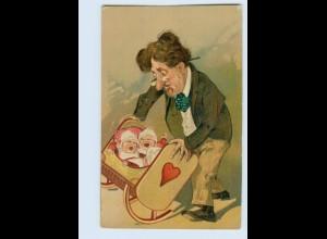 W9B40/ Vater und Zwillinge Babys Humor Litho Prägedr. AK ca.1910