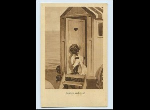 W8X13/ Schwarze farbige Kinder mit Fotoapparat Badekarren Strandleben AK ca.1920