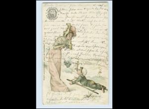 W8Y06/ Remy Stärke Reklame AK Amor als Schornsteinfeger Litho AK 1903