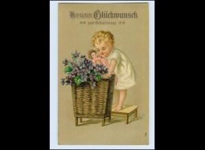 W8T08/ Geburtstag Kind mit Puppe schöne Litho präge AK 1910